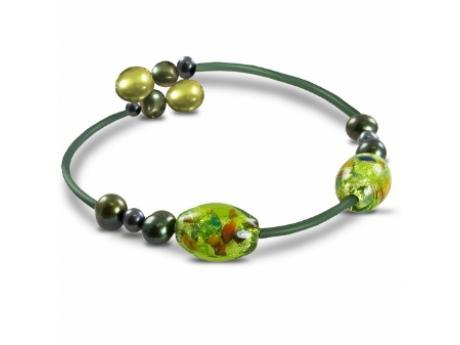 Imperial Bracelet - MULTI GREEN FRESHWATER PEARL AND GLASS BEAD GREEN RUBBER BRACELET