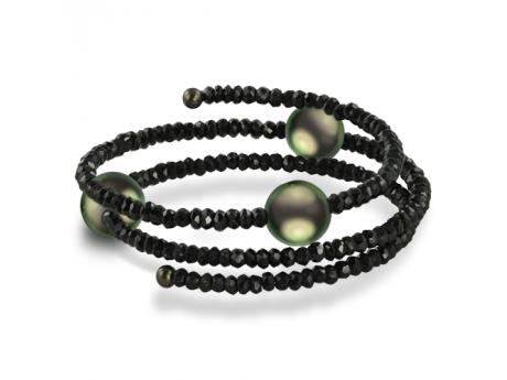 Imperial Bracelet - This beautiful faceted black spinel coil bangle bracelet features three gorgeous 10-11mm Tahitian pearls.