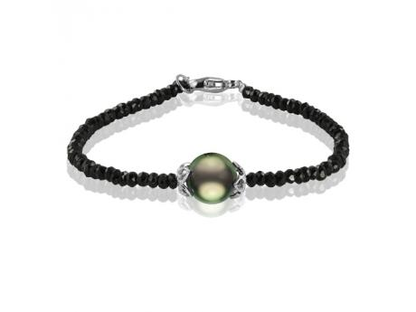 "Imperial Bracelet - This beautiful 7.5"" black spinel bracelet features a gorgeous 10-11mm Tahitian pearl accented by sterling silver."