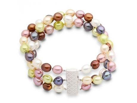Imperial Bracelet - This is a three row vibrently colored 7-7.5mm freshwater pearl braceletwith a beautiful sterling silver clasp.