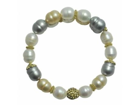 Imperial Bracelet - 8-9 MM WHITE, GREY AND CHAMPAGNE FRESHWATER PEARL BANGLE WITH CRYSTAL BEAD.