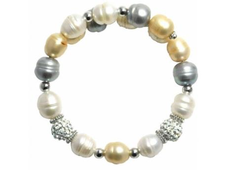 Imperial Bracelet - 8-9 MM CHAMPAIGN, WHITE AND GREY FRESHWATER PEARL BANGLE WITH STERLING SILVER CRYSTAL AND STERLING ACCENTS.