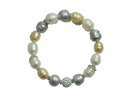 Imperial Bracelet - 8-9 MM WHITE, CHAMPAIGN AND GREY FRESHWATER PEARL BANGLE WITH STERLING SILVER ACCENTS AND CRYSTAL BEAD.