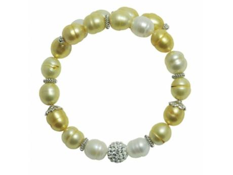 Imperial Bracelet - 8-9 MM WHITE AND  YELLOW FRESHWATER PEARL BANGLE WITH STERLING CRYSTAL BEADS AND STERLING ACCENTS.