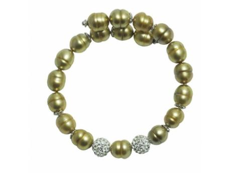 Imperial Bracelet - 8-9 MM GOLD FRESHWATER PEARL BANGLE WITH TWO CRYSTAL BEADS.