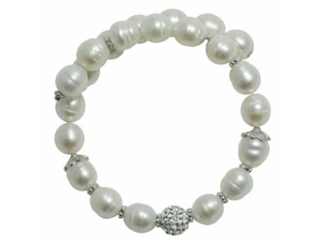 Imperial Bracelet - 8-9 MM FRESHWATER PEARL BANGLE WITH STERLING CRYSTAL BEAD AND STERLING ACCENTS.
