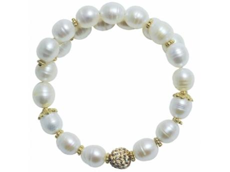 Imperial Bracelet - 8-9 MM FRESHWATER PEARL BANGLE WITH STERLING SILVER ACCENTS AND COLORADO TOPAZ CRYSTAL BEAD.
