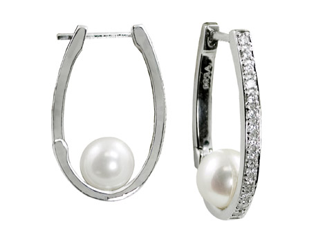 Pearl & Diamond Hoops - Please visit our store to see our entire collection of fine jewelry.