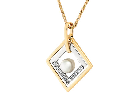 Pearl and Diamond Pendant - 14k Two tone 5-5.6mm freshwater pearl and .075cttw diamond pendant