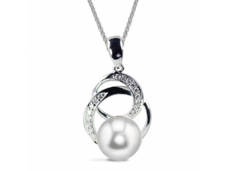 "Imperial Pendant - Made of genuine diamonds 14k gold and AAA quality 8.5-9mm freshwater pearls this 18"" pendant is a great compliment to any jewelry collection."