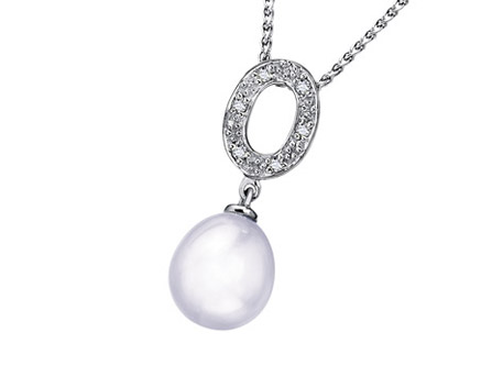 Treasure Pendant - A member of the IJO Collection is a freshwater pearl necklace with .2 carats of diamonds. A classic piece!