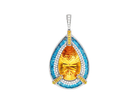 Citrine, Blue Topaz, and Diamond Pendant - Please visit our store to see our entire collection of fine jewelry.