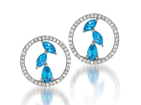 Azure Earrings - 14k white gold circle earrings with .25ct. tw. diamonds and .66ct. tw. blue topaz