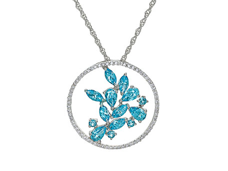 Azure Pendant - 14k white gold circle pendant with .24ct. tw. diamonds and 1.78ct. tw. blue topaz