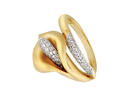 Diamond Lily Ring - 18k YG satin finish lily ring with .25ct tw diamonds