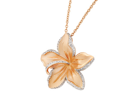 14k pink gold and diamond Hibiscus necklace with .31ct tw diamonds in brushed gold.