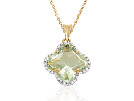 Green Amethyst Pendant - 14k YG 3.75 green amethyst pendant with .11ct tw diamonds and 18 inch cable chain