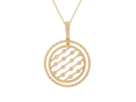 Diamond Pendant - 14k YG twisted rope bezel set pendant with .09ct tw diamonds and 18 inch cable chain