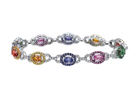 14k Carnival Bracelet - 14k white gold multi-colored sapphire bracelet with 1.08ct tw diamonds and 6.61ct tw oval and 1.90ct tw round sapphires