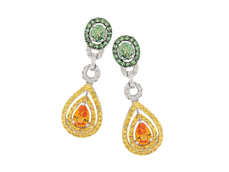 14k Carnival Earrings - 14k white gold multi-colored sapphire earrings with .33 ct tw diamonds and 4.25 ct tw colored sapphires (pear, round and oval)