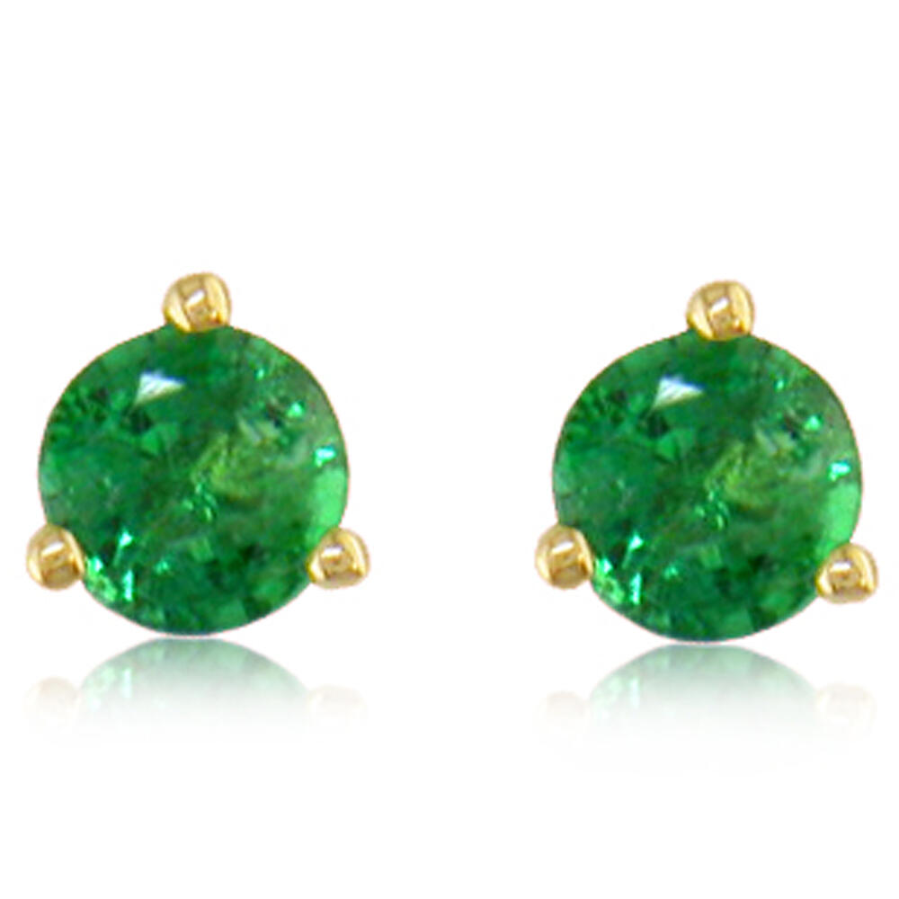 14K Yellow Gold Emerald Earrings - 14K Yellow Gold Emerald Earrings