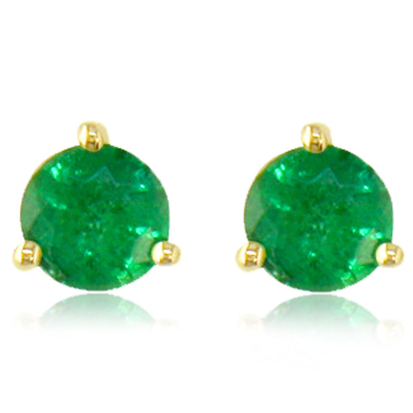 14K Yellow Gold Emerald Earrings - 14K Yellow Gold Emerald Earrings