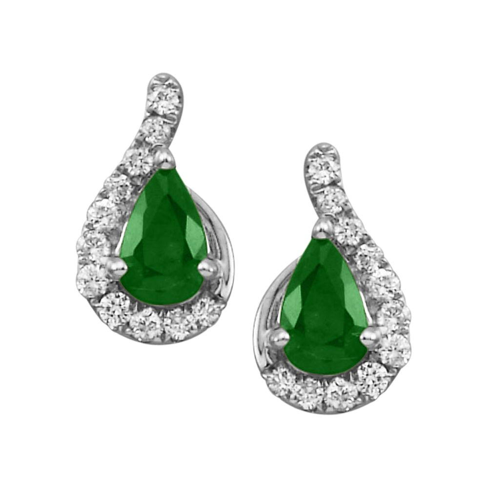 White Gold Emerald and Diamond Earrings - 14K White Gold Emerald/Diamond Earrings