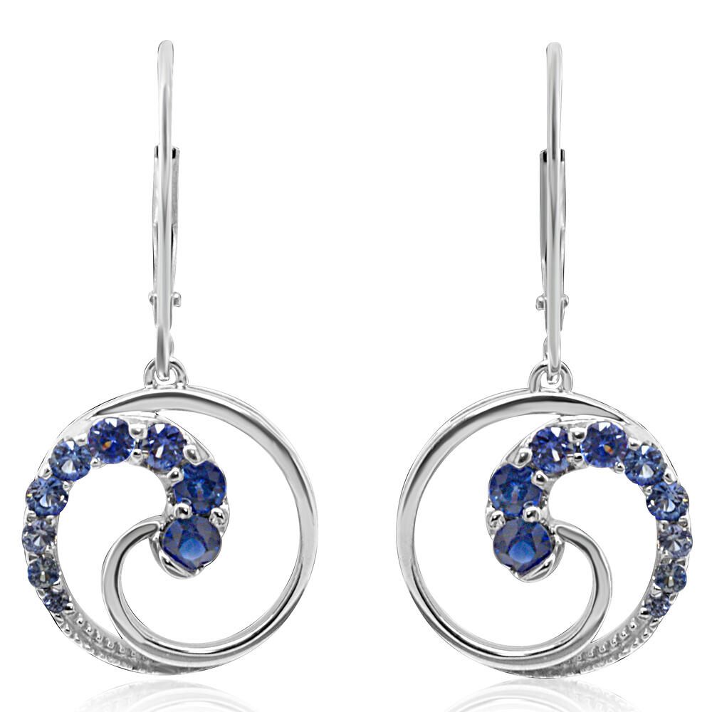 14K White Gold Graduated Blue Sapphire Earrings - 14K White Gold Graduated Blue Sapphire Earrings