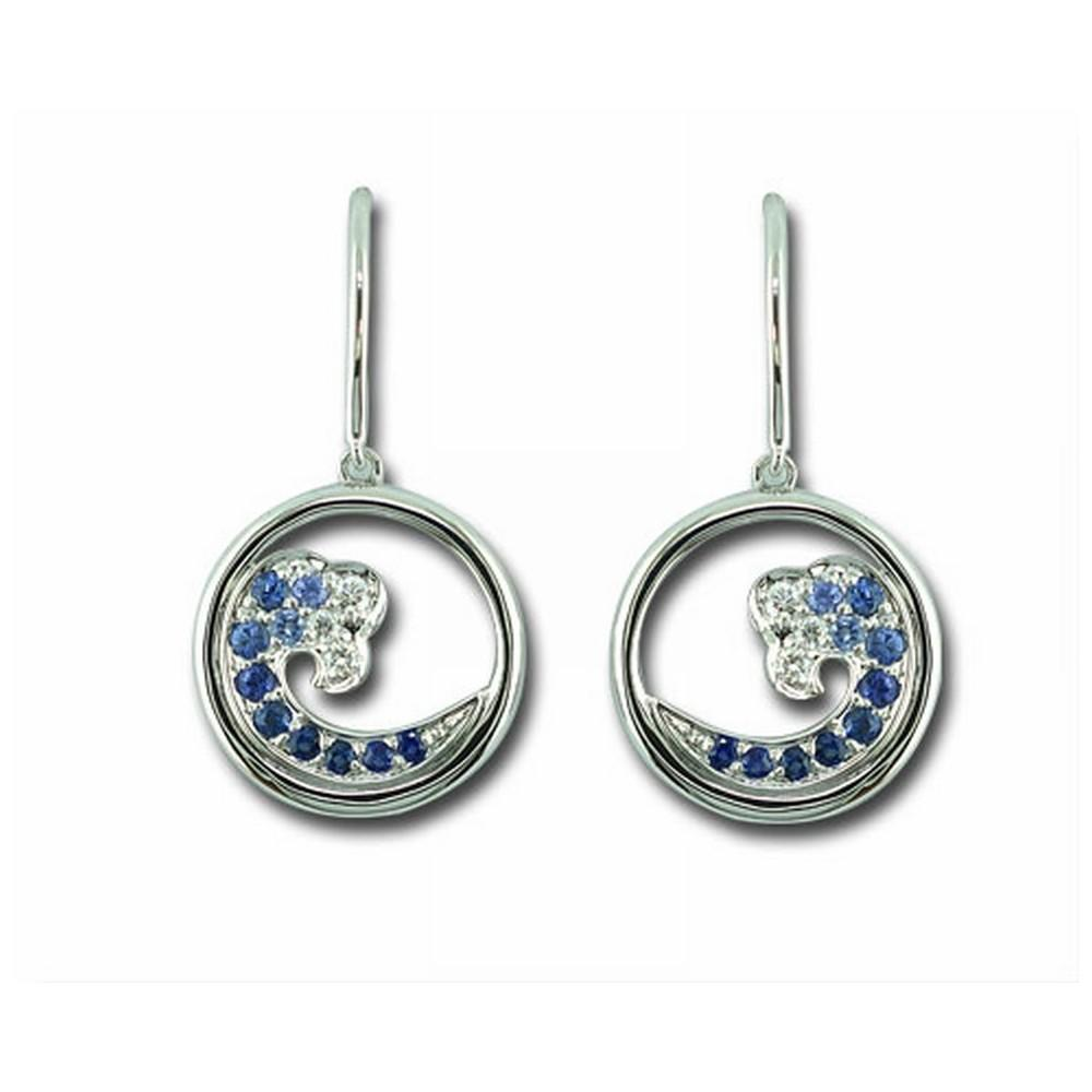14K White Gold Graduated Blue Sapphire/Diamond Wave 15mm Earrings - 14K White Gold Graduated Blue Sapphire/Diamond Wave 15mm Earrings