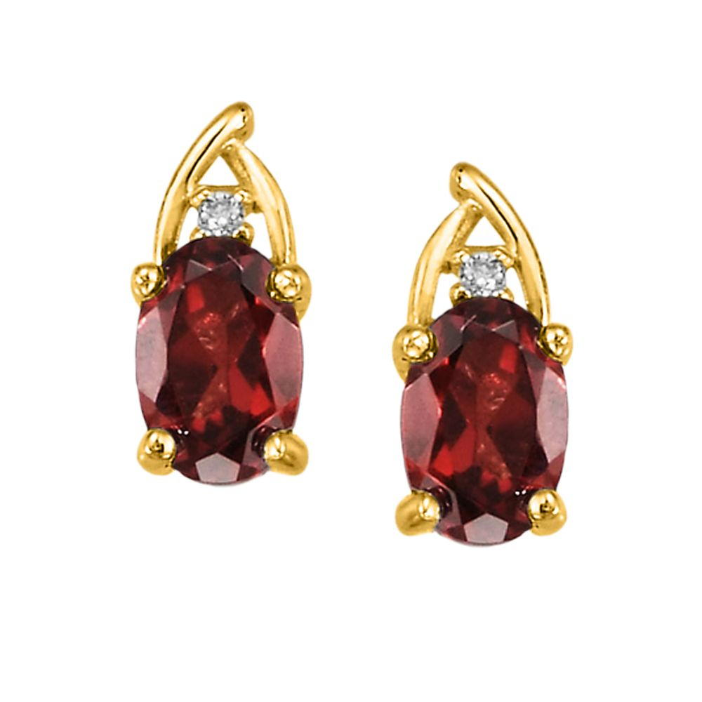 14K Yellow Gold Garnet/Diamond Earrings - 14K Yellow Gold Garnet/Diamond Earrings