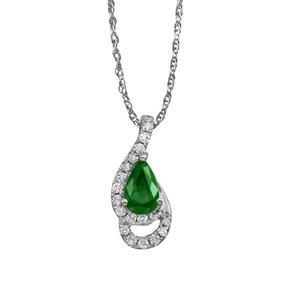 14K White Gold Emerald/Diamond Pendant - 14K White Gold Emerald/Diamond Pendant