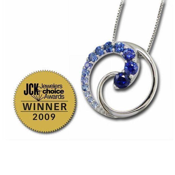 14K White Gold Graduated Blue Sapphire Pendant - 14K White Gold Graduated Blue Sapphire Pendant