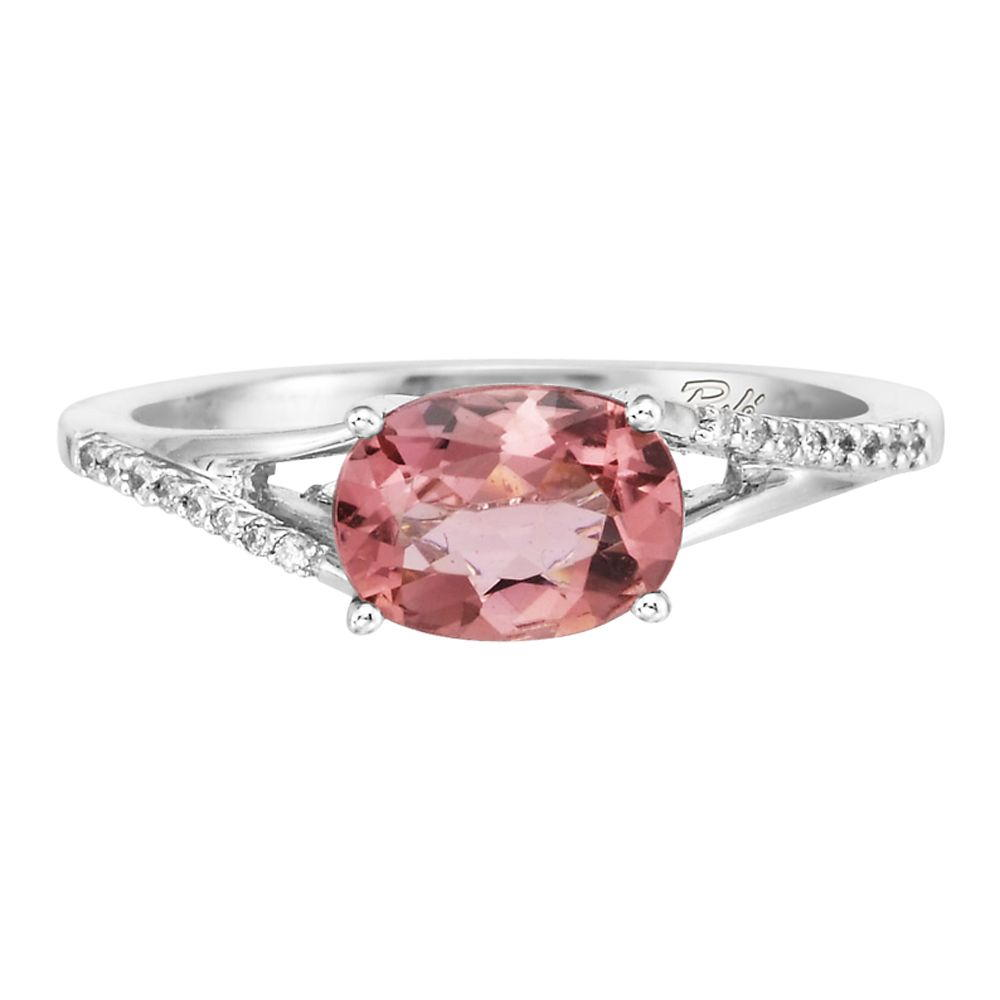 White Gold Pink Tourmaline and Diamond Ring - 14K White Gold Pink Tourmaline/Diamond Ring