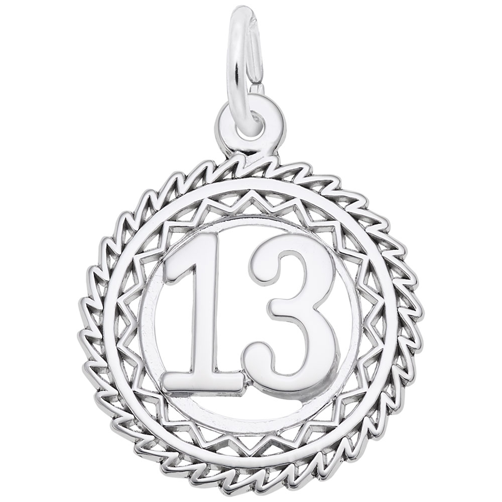 Number 13 - Number 13  Numbers & Initials  Charm.material:  Sterling Silver
