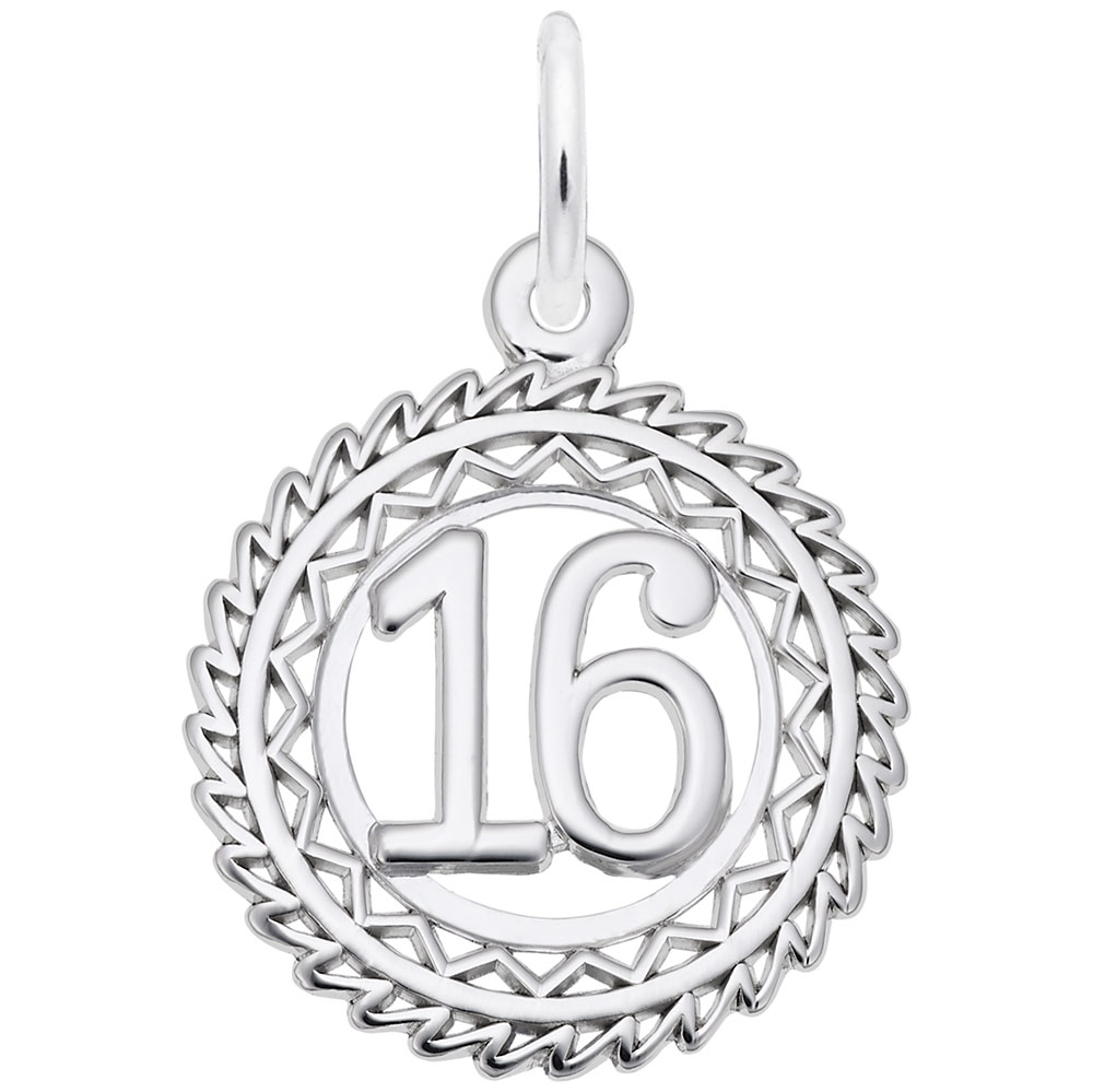 Number 16 - Number 16  Numbers & Initials  Charm.material:  Sterling Silver