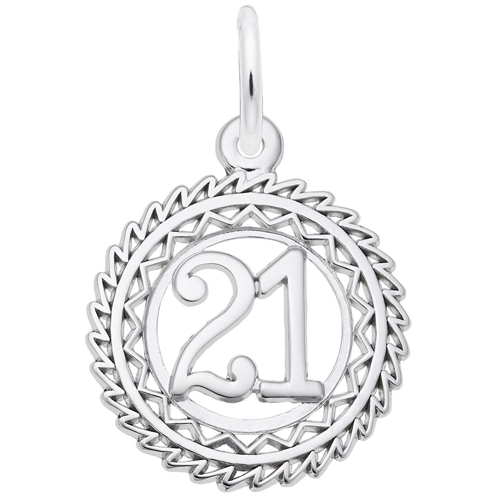 Number 21 - Number 21  Numbers & Initials  Charm.material:  Sterling Silver