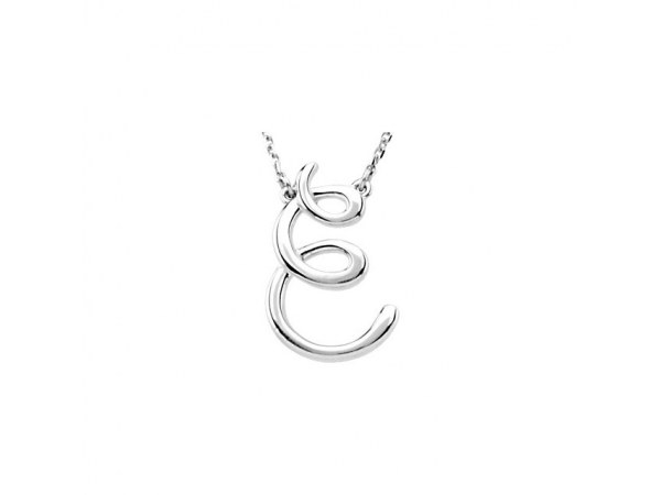 "Script Initial Necklace - 14K White ""E"" Script Initial 16"" Necklace"
