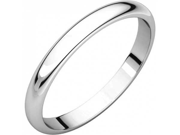 Half Round Bands - Platinum 2.5mm Half Round Band