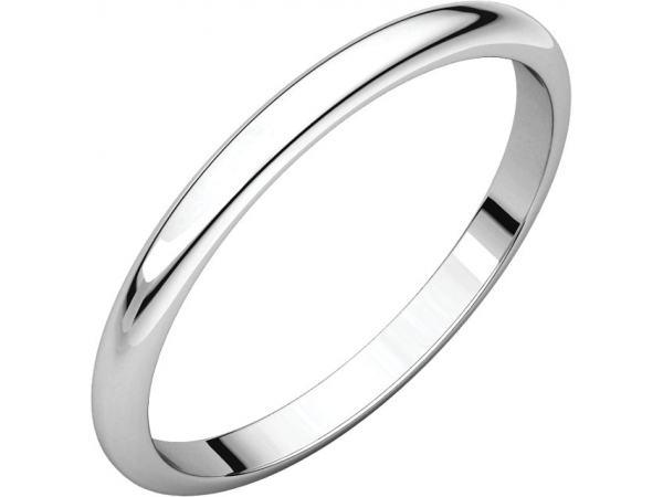 Half Round Bands - 18K Palladium White 2mm Half Round Band