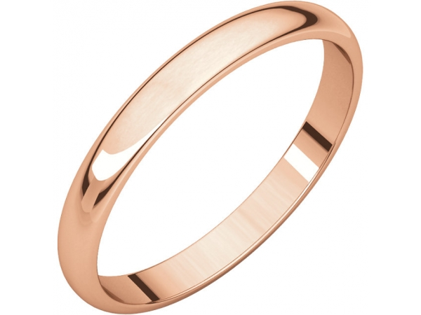 Half Round Light Bands - 18K Rose 2.5mm Half Round Lightweight Band