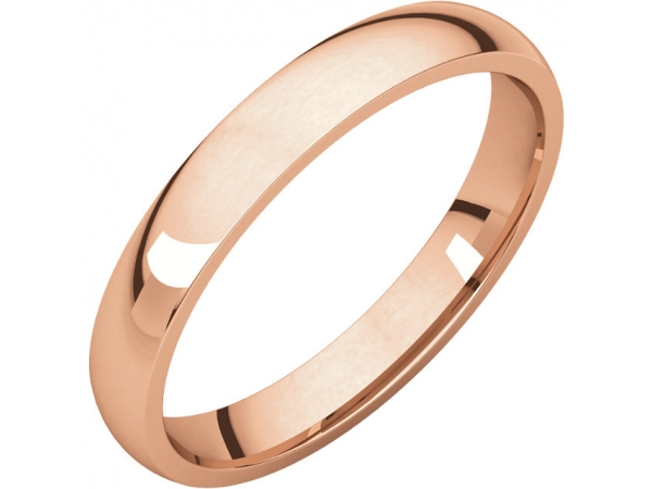 Light Comfort-Fit Bands - 10K Rose 3mm Lightweight Comfort-Fit Band
