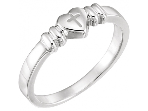 Heart with Cross Chastity Ring - Sterling Silver Heart with Cross Chastity Ring Size 6